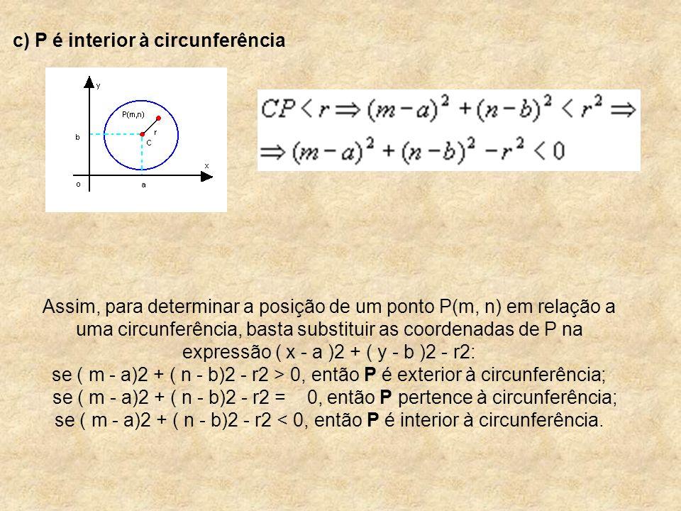 c) P é interior à circunferência Assim, para determinar a posição de um ponto P(m, n) em relação a uma circunferência, basta substituir as coordenadas