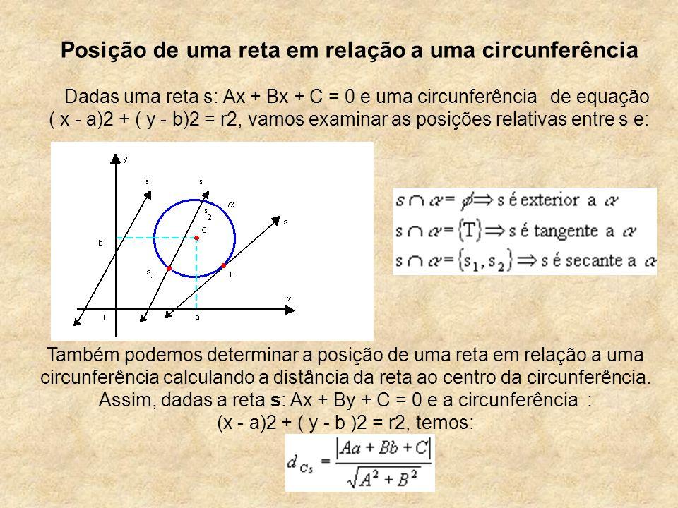 Posição de uma reta em relação a uma circunferência Dadas uma reta s: Ax + Bx + C = 0 e uma circunferência de equação ( x - a)2 + ( y - b)2 = r2, vamo
