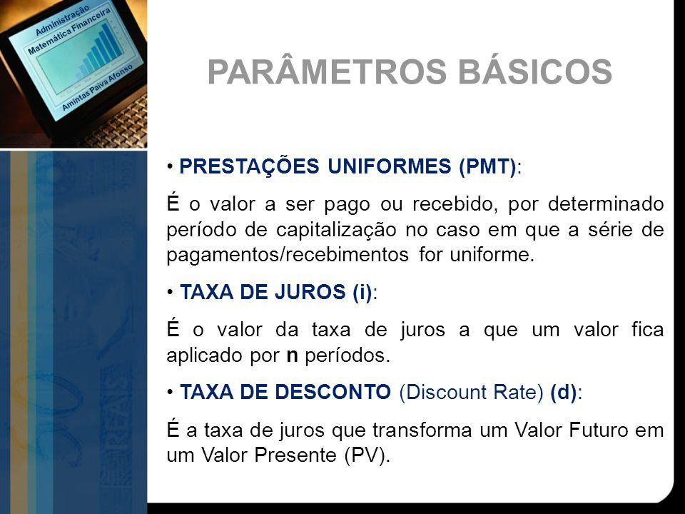 PRESTAÇÕES UNIFORMES (PMT): É o valor a ser pago ou recebido, por determinado período de capitalização no caso em que a série de pagamentos/recebiment