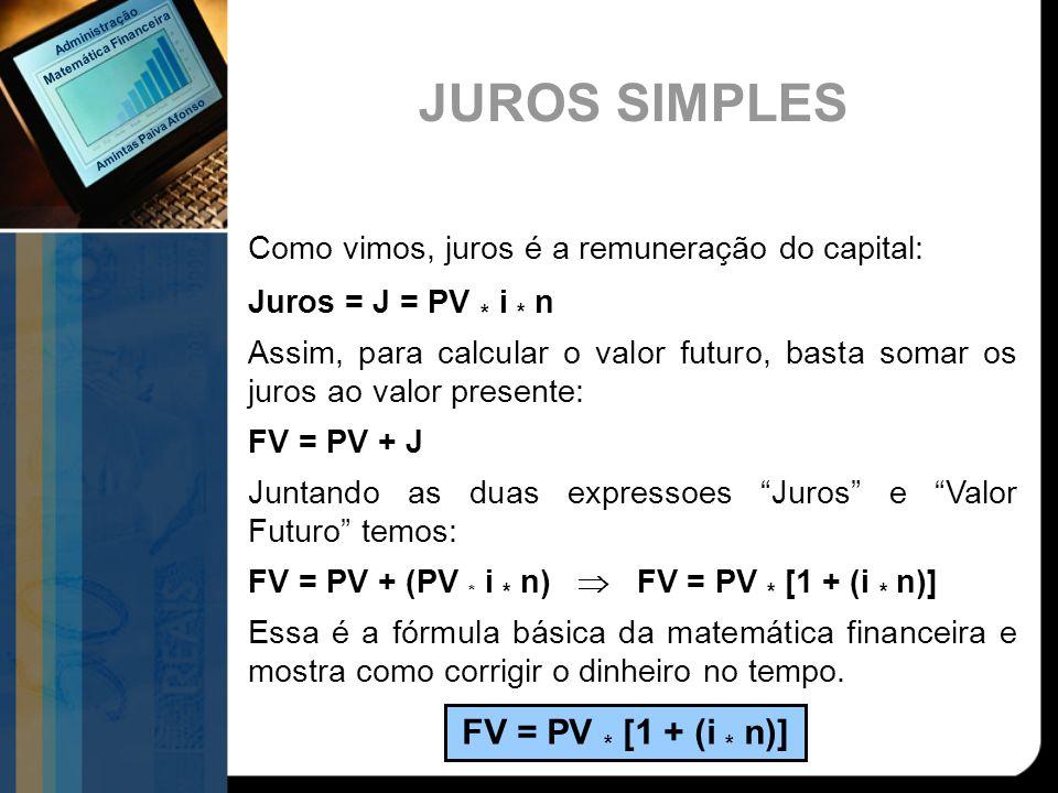 Como vimos, juros é a remuneração do capital: Juros = J = PV * i * n Assim, para calcular o valor futuro, basta somar os juros ao valor presente: FV =