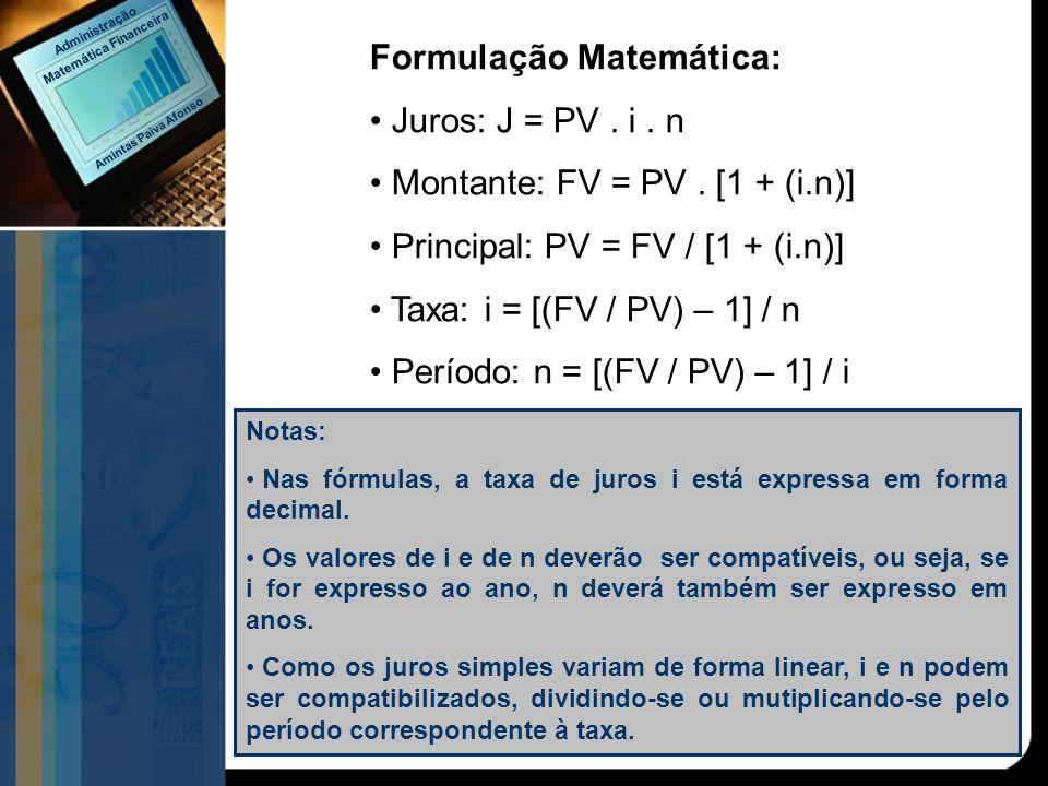 Formulação Matemática: Juros: J = PV. i. n Montante: FV = PV. [1 + (i.n)] Principal: PV = FV / [1 + (i.n)] Taxa: i = [(FV / PV) – 1] / n Período: n =