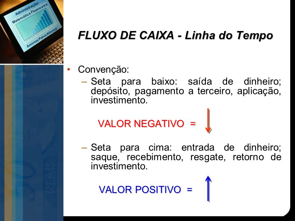 FLUXO DE CAIXA - Linha do Tempo Convenção: –Seta para baixo: saída de dinheiro; depósito, pagamento a terceiro, aplicação, investimento. VALOR NEGATIV