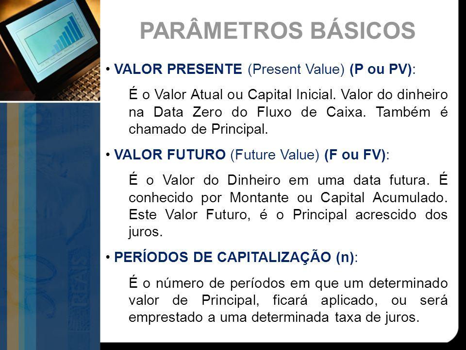 PARÂMETROS BÁSICOS VALOR PRESENTE (Present Value) (P ou PV): É o Valor Atual ou Capital Inicial. Valor do dinheiro na Data Zero do Fluxo de Caixa. Tam