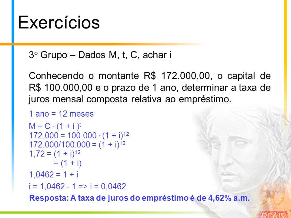 Exercícios 3 o Grupo – Dados M, t, C, achar i Conhecendo o montante R$ 172.000,00, o capital de R$ 100.000,00 e o prazo de 1 ano, determinar a taxa de