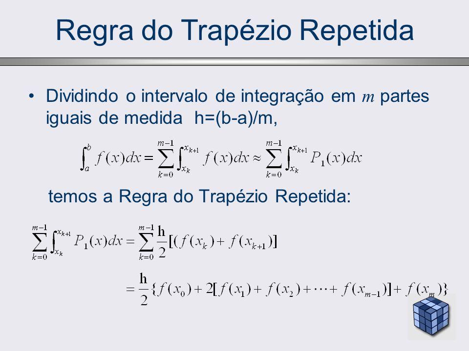Regra do Trapézio Repetida Dividindo o intervalo de integração em m partes iguais de medida h=(b-a)/m, temos a Regra do Trapézio Repetida: