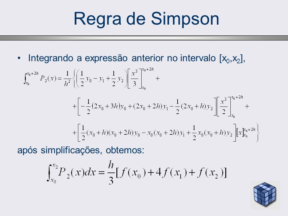 Integrando a expressão anterior no intervalo [x 0,x 2 ], após simplificações, obtemos: