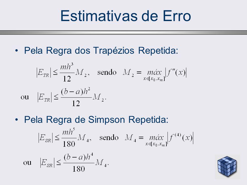 Estimativas de Erro Pela Regra dos Trapézios Repetida: Pela Regra de Simpson Repetida: