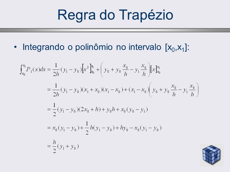 Regra do Trapézio Interpretação geométrica: a expressão anterior mostra que a integral de f(x) pode ser aproximada pela a área do trapézio: =x 0 =x 1 = x 0 +h y0y0 y1y1 h f(x)