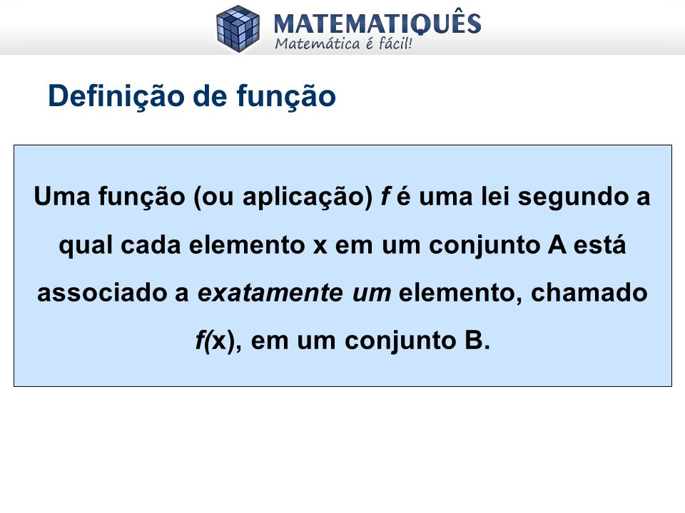 A = {1, 2}; B = {2, 3, 4} A x B = { (1, 2), (1, 3), (1, 4), (2, 2), (2, 3), (2, 4)} A x B = { (x, y) | x A e y B} Produto Cartesiano