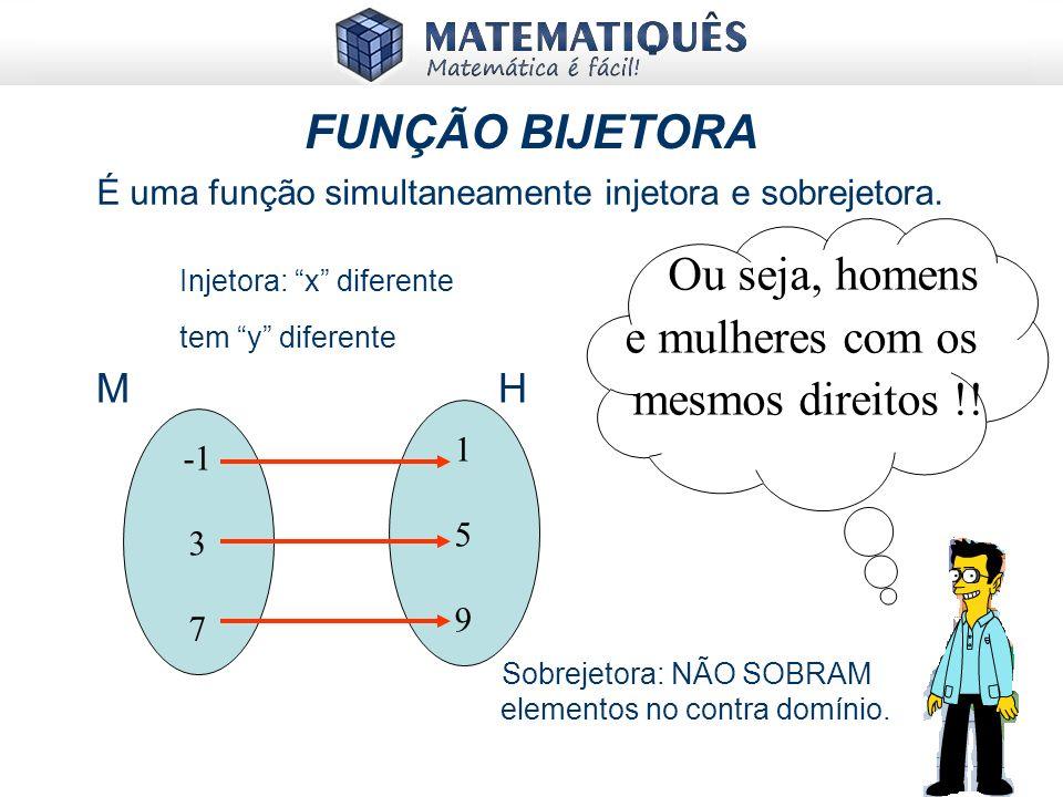 FUNÇÃO SOBREJETORA É quando o conjunto Imagem da função for igual ao conjunto contradomínio. (Im = CD) 1 3 1919 Se M é o conjunto das mulheres e H é o
