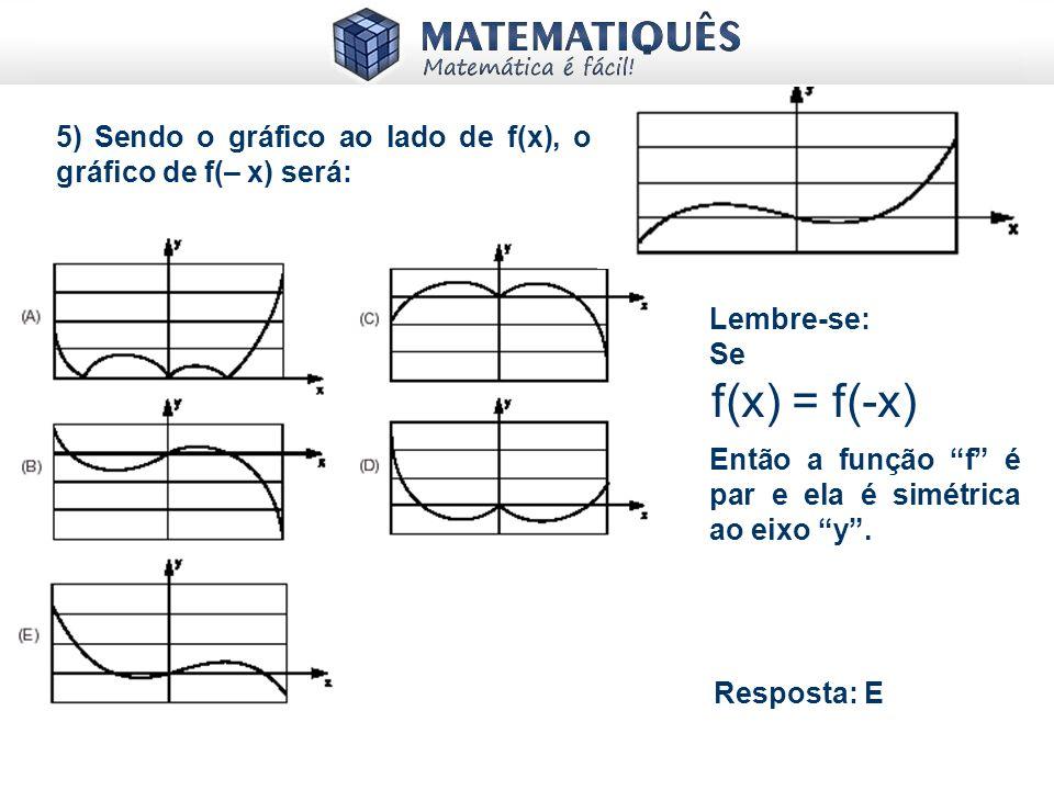 4) a) Verifique se f(x) = 2x³ + 5x é par ou ímpar: Primeiro vejamos que f(1) = 2.1³ + 5.1 = 7 Em seguida, vejamos f(-1) = 2.(-1)³ + 5.(-1) = -7 Logo f