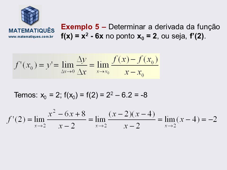 Exemplo 5 – Determinar a derivada da função f(x) = x 2 - 6x no ponto x 0 = 2, ou seja, f(2). Temos: x 0 = 2; f(x 0 ) = f(2) = 2 2 – 6.2 = -8