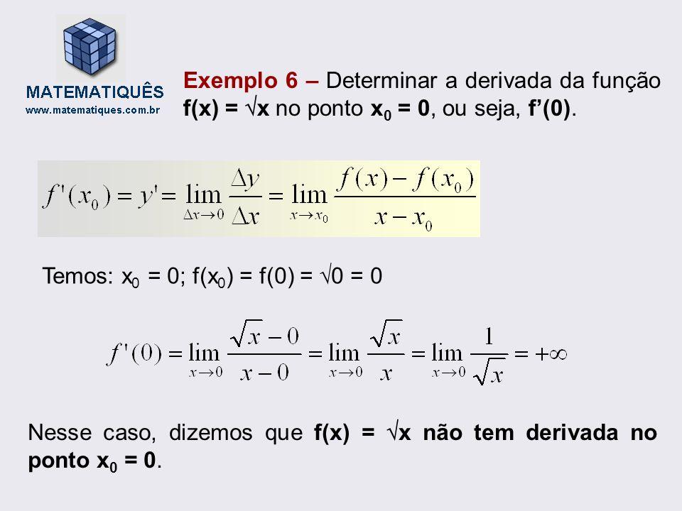 Exemplo 6 – Determinar a derivada da função f(x) = x no ponto x 0 = 0, ou seja, f(0). Temos: x 0 = 0; f(x 0 ) = f(0) = 0 = 0 Nesse caso, dizemos que f