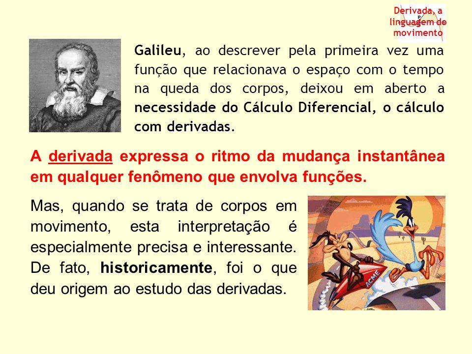 A derivada expressa o ritmo da mudança instantânea em qualquer fenômeno que envolva funções. derivadas Galileu, ao descrever pela primeira vez uma fun
