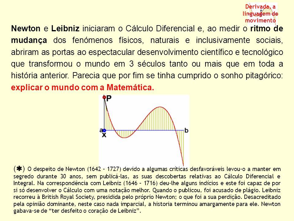 a f(b) x y O b f(a) f(b) - f(a) b - a Derivada, a linguagem do movimento Se uma função é representada graficamente por uma reta (função afim) facilmente sabemos com que velocidade varia essa função.