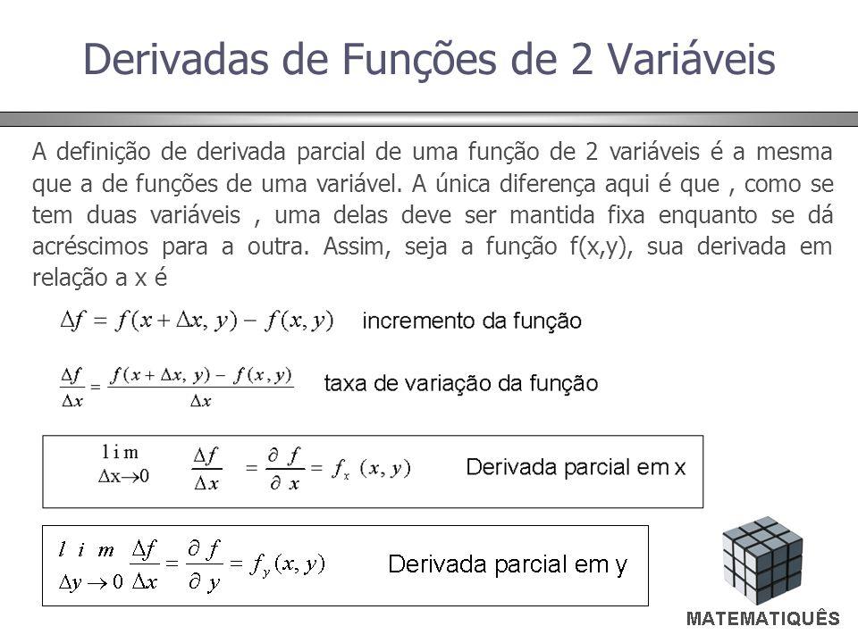 Derivadas de Funções de 2 Variáveis A definição de derivada parcial de uma função de 2 variáveis é a mesma que a de funções de uma variável. A única d