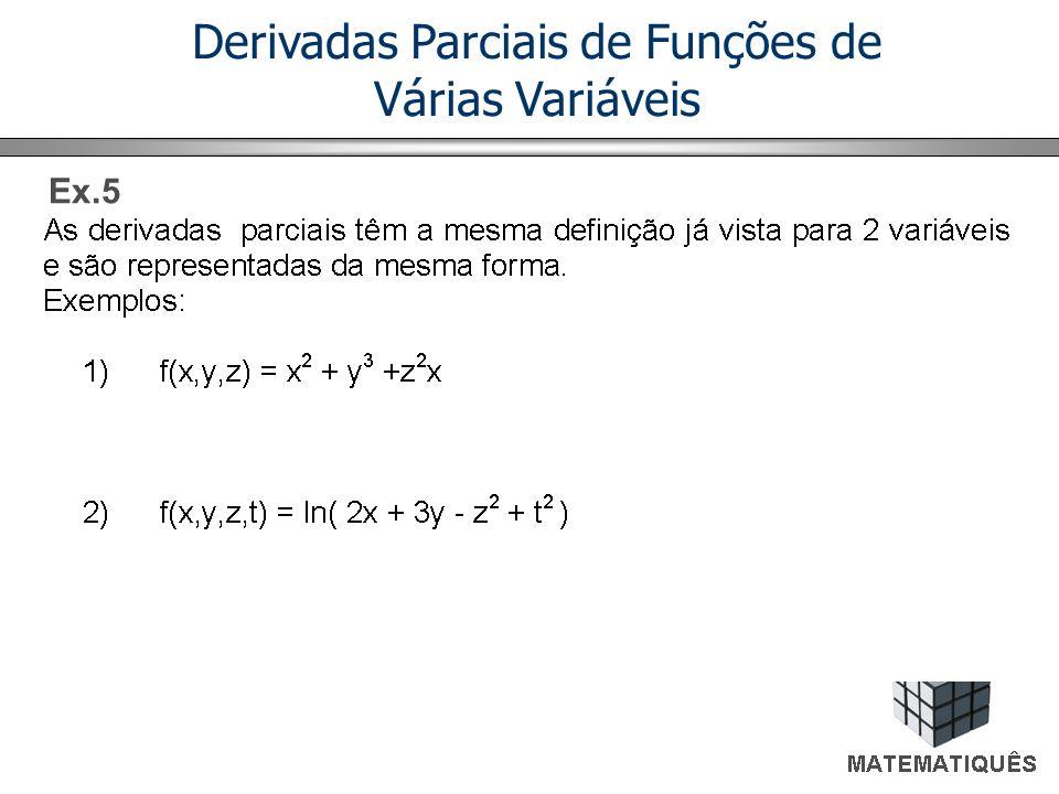 Derivadas Parciais de Funções de Várias Variáveis Ex.5