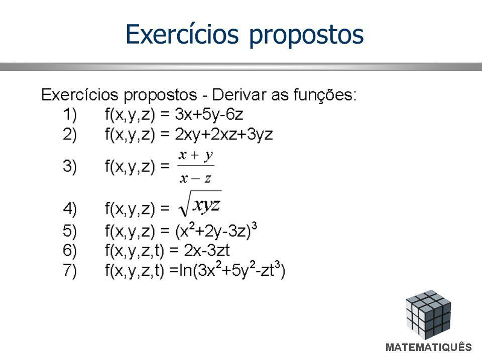 Exemplos Derivada em relação a xDerivada em relação a z