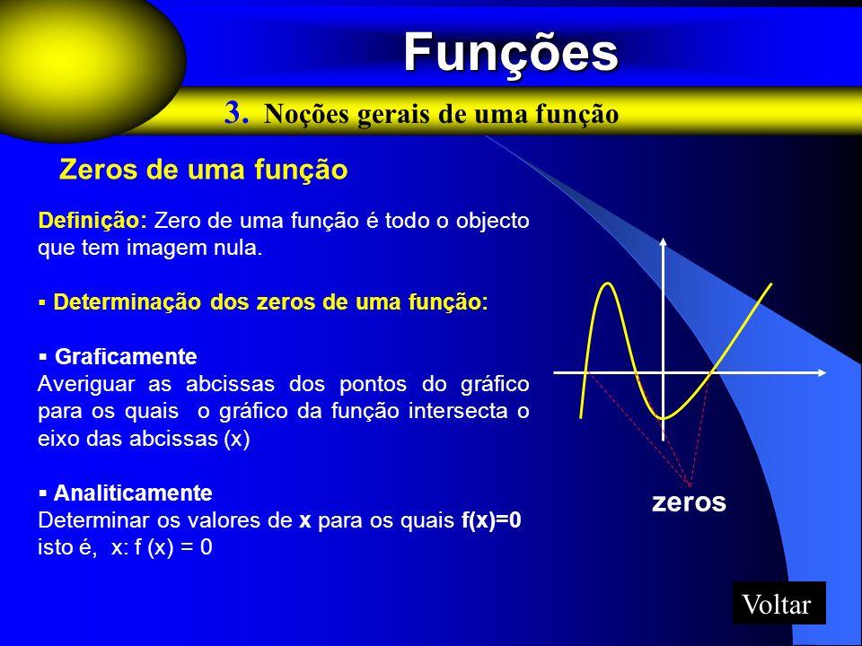 Funções Funções 3. Noções gerais de uma função Zeros de uma função zeros Definição: Zero de uma função é todo o objecto que tem imagem nula. Determina