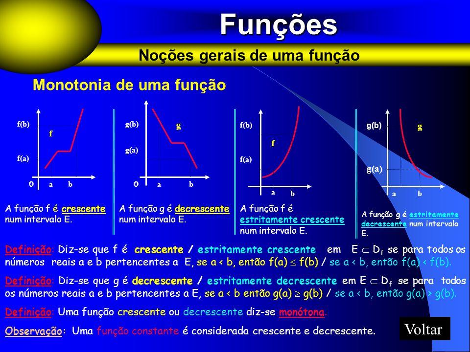 Funções Funções Noções gerais de uma função A função f é crescente num intervalo E. A função f é estritamente crescente num intervalo E. A função g é