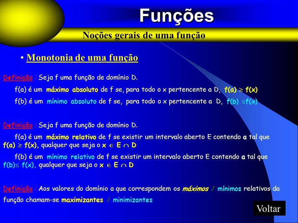 Funções Funções Noções gerais de uma função Monotonia de uma função Definição : Seja f uma função de domínio D. f(a) é um máximo absoluto de f se, par
