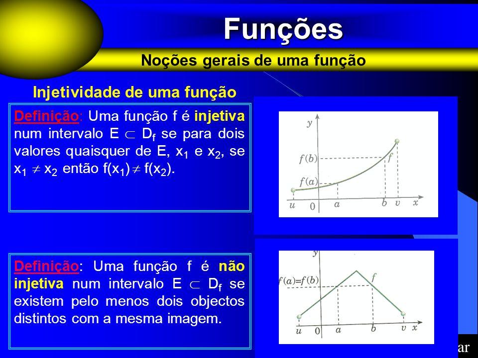 Funções Funções Noções gerais de uma função Definição: Uma função f é injetiva num intervalo E D f se para dois valores quaisquer de E, x 1 e x 2, se