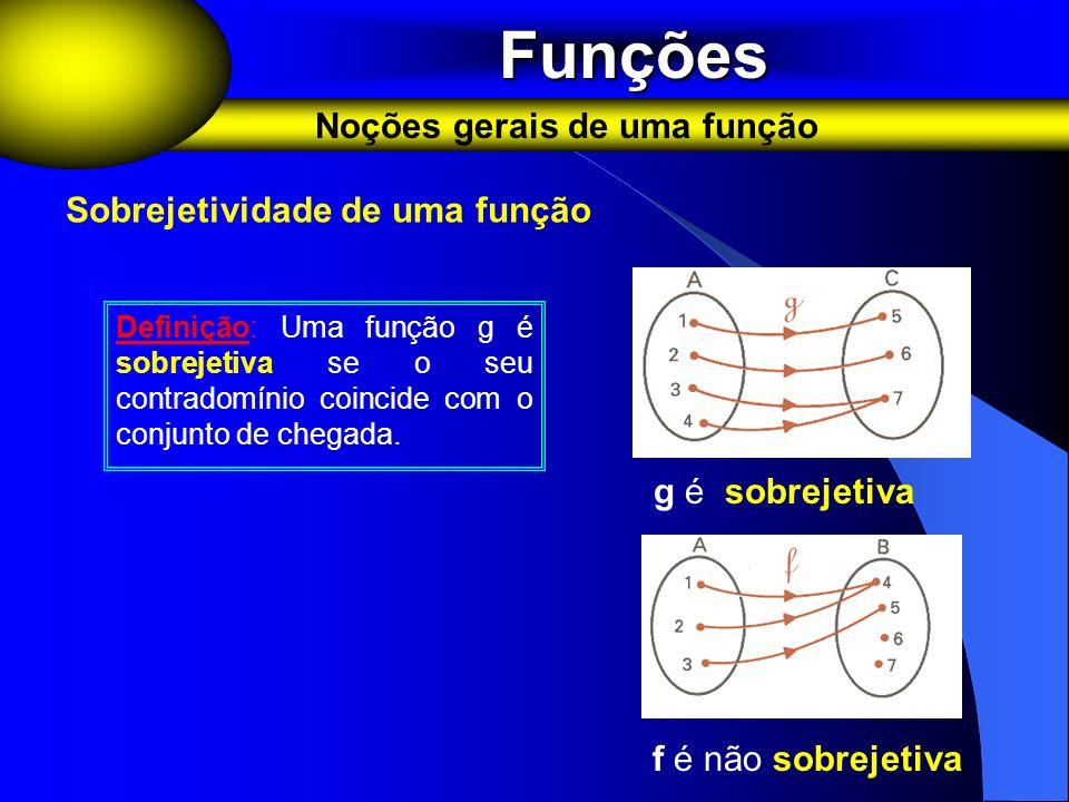 Funções Funções Noções gerais de uma função Sobrejetividade de uma função Definição: Uma função g é sobrejetiva se o seu contradomínio coincide com o