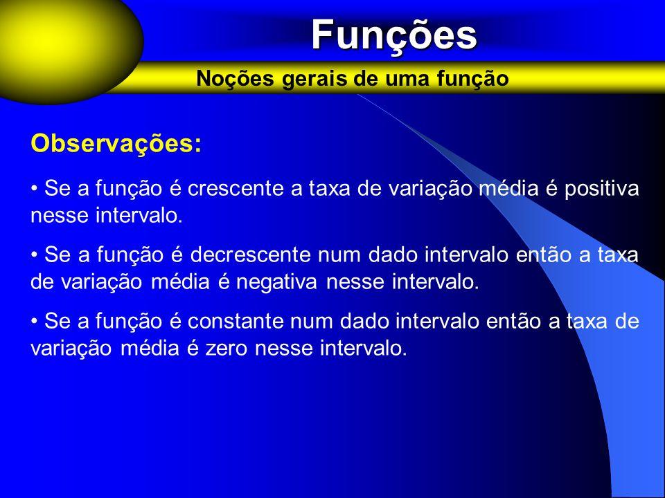 Funções Funções Noções gerais de uma função Observações: Se a função é crescente a taxa de variação média é positiva nesse intervalo. Se a função é de