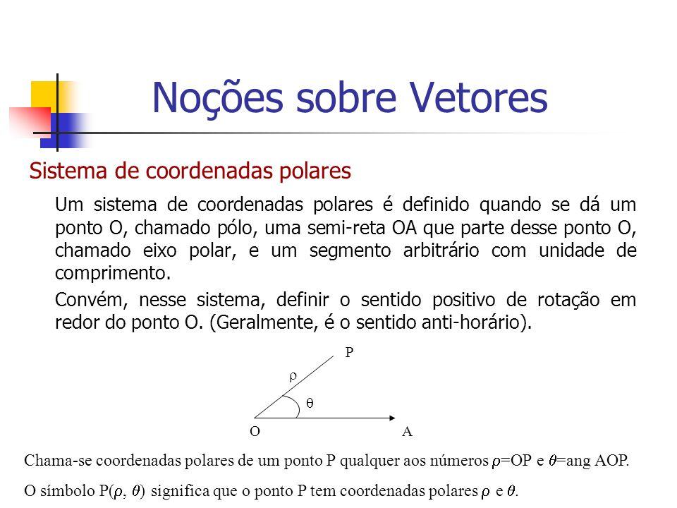 Sistema de coordenadas polares Um sistema de coordenadas polares é definido quando se dá um ponto O, chamado pólo, uma semi-reta OA que parte desse po