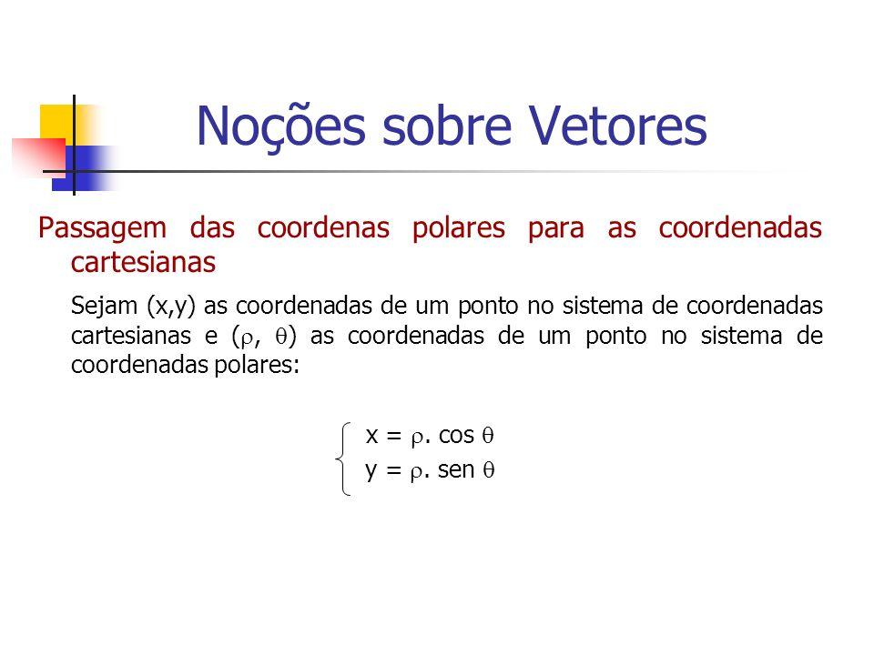 Passagem das coordenas polares para as coordenadas cartesianas Sejam (x,y) as coordenadas de um ponto no sistema de coordenadas cartesianas e (, ) as