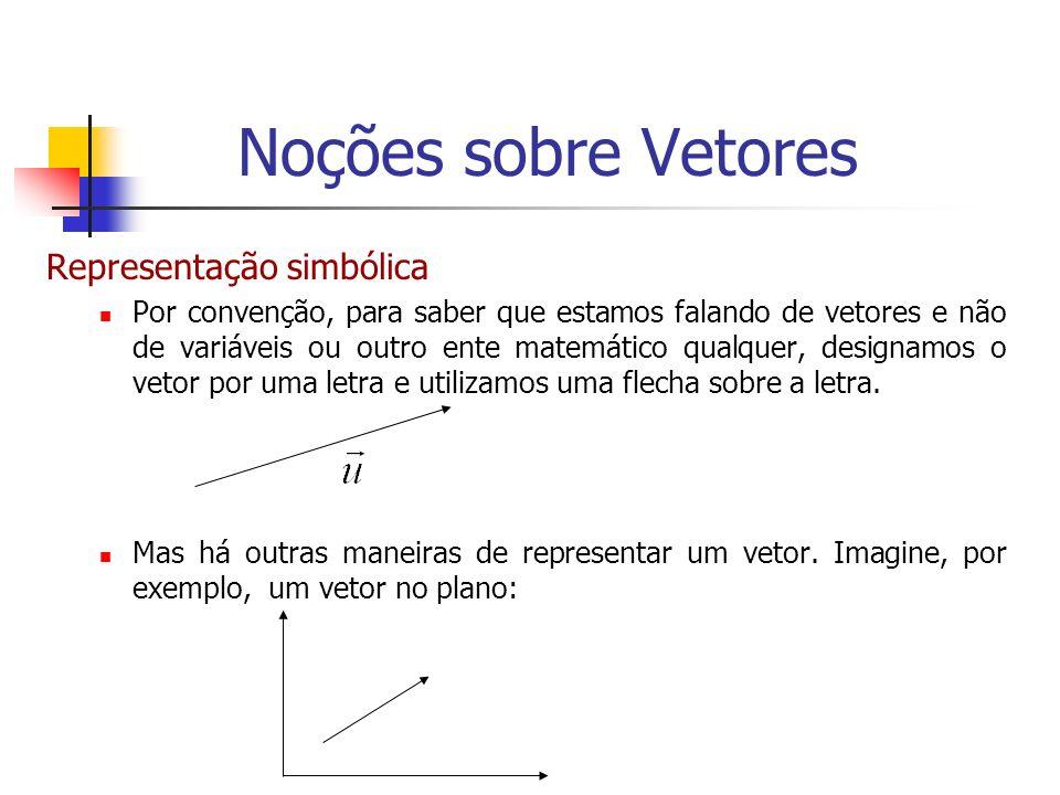 Representação simbólica Por convenção, para saber que estamos falando de vetores e não de variáveis ou outro ente matemático qualquer, designamos o ve