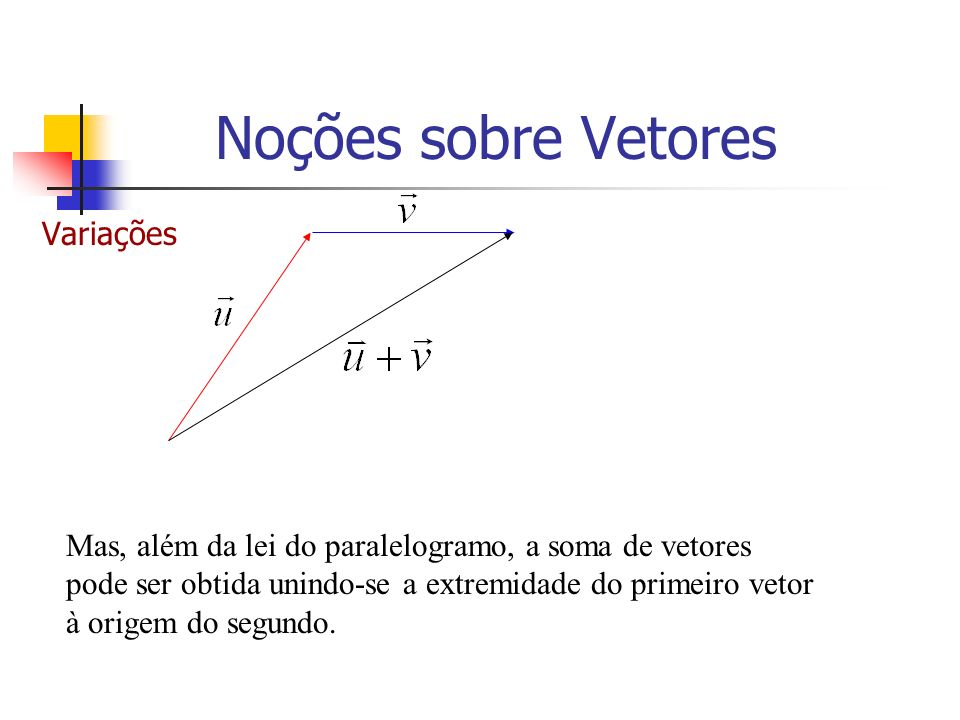 Variações Mas, além da lei do paralelogramo, a soma de vetores pode ser obtida unindo-se a extremidade do primeiro vetor à origem do segundo. Noções s