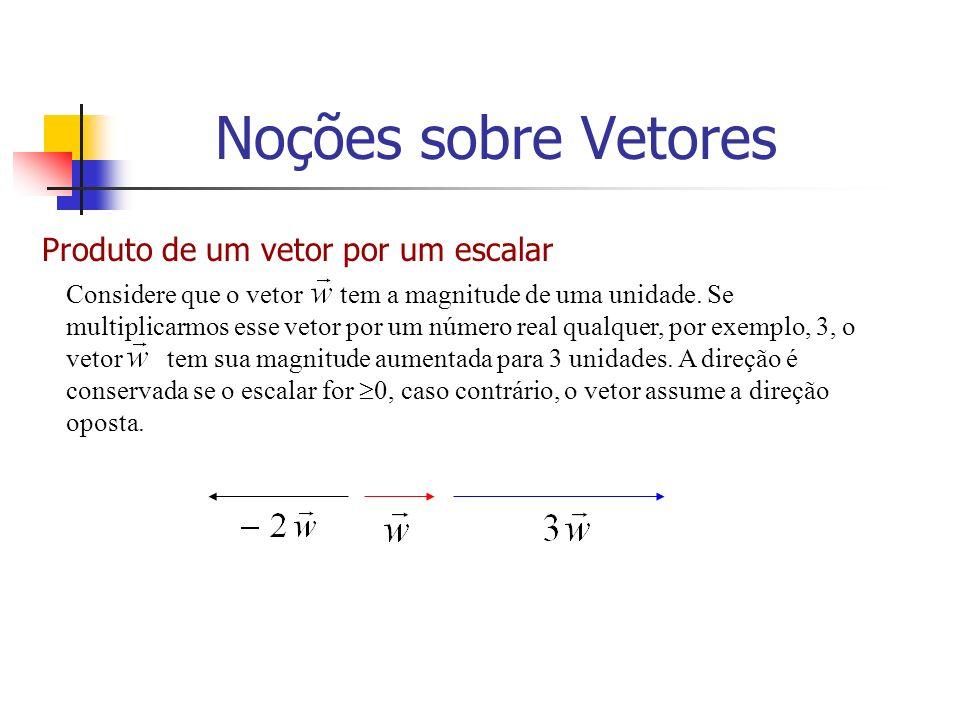 Produto de um vetor por um escalar Considere que o vetor tem a magnitude de uma unidade. Se multiplicarmos esse vetor por um número real qualquer, por