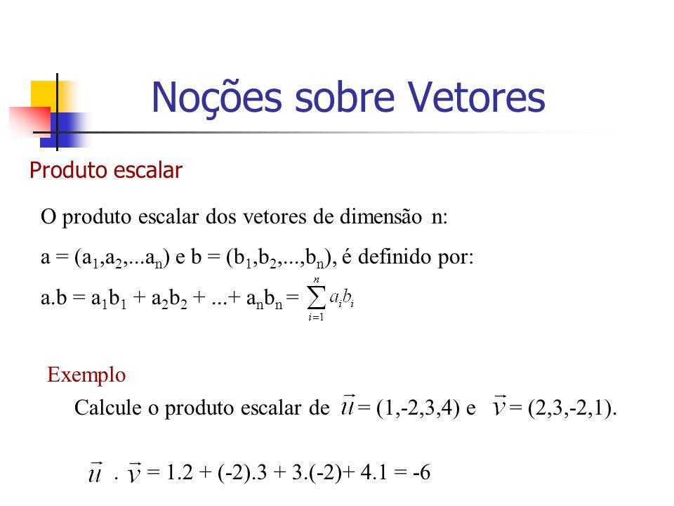 Produto escalar O produto escalar dos vetores de dimensão n: a = (a 1,a 2,...a n ) e b = (b 1,b 2,...,b n ), é definido por: a.b = a 1 b 1 + a 2 b 2 +