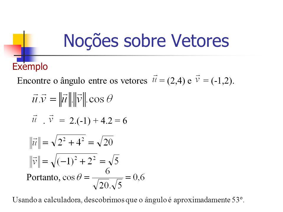 Exemplo Encontre o ângulo entre os vetores = (2,4) e = (-1,2).. = 2.(-1) + 4.2 = 6 Portanto, Usando a calculadora, descobrimos que o ângulo é aproxima