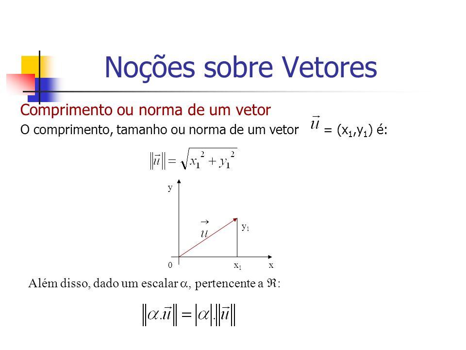Comprimento ou norma de um vetor O comprimento, tamanho ou norma de um vetor = (x 1,y 1 ) é: y1y1 x y x1x1 0 Além disso, dado um escalar, pertencente