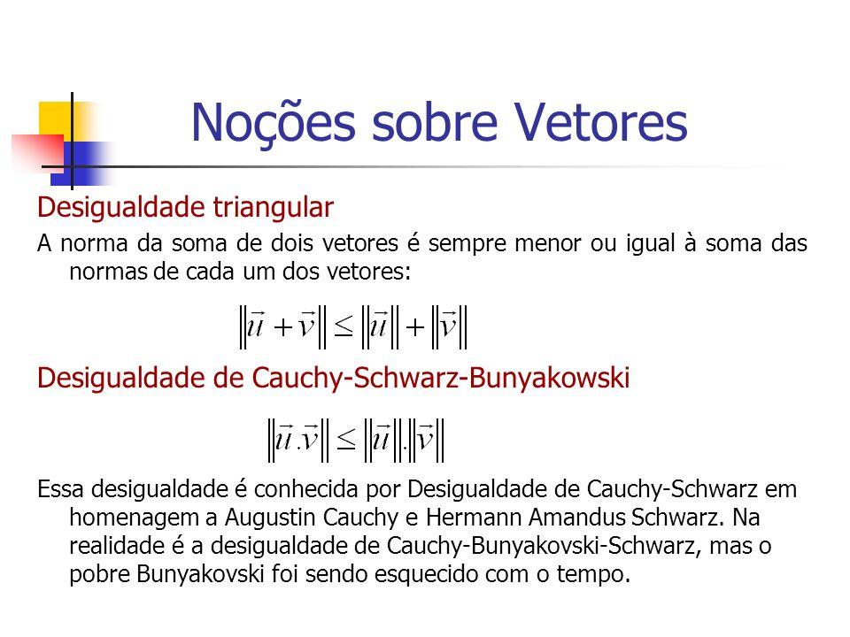 Desigualdade triangular A norma da soma de dois vetores é sempre menor ou igual à soma das normas de cada um dos vetores: Desigualdade de Cauchy-Schwa