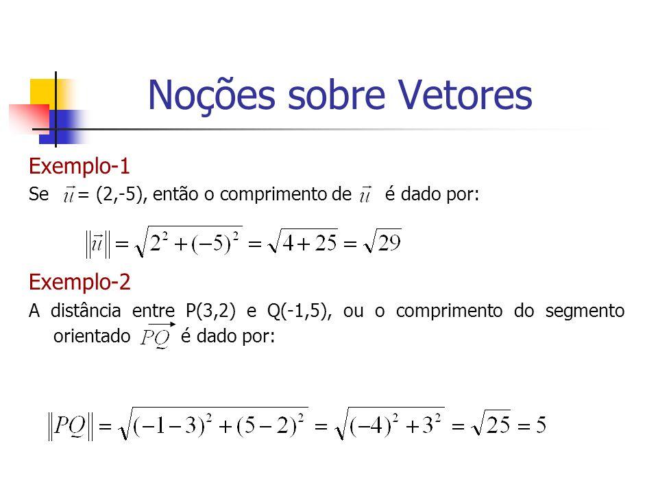 Exemplo-1 Se = (2,-5), então o comprimento de é dado por: Exemplo-2 A distância entre P(3,2) e Q(-1,5), ou o comprimento do segmento orientado é dado