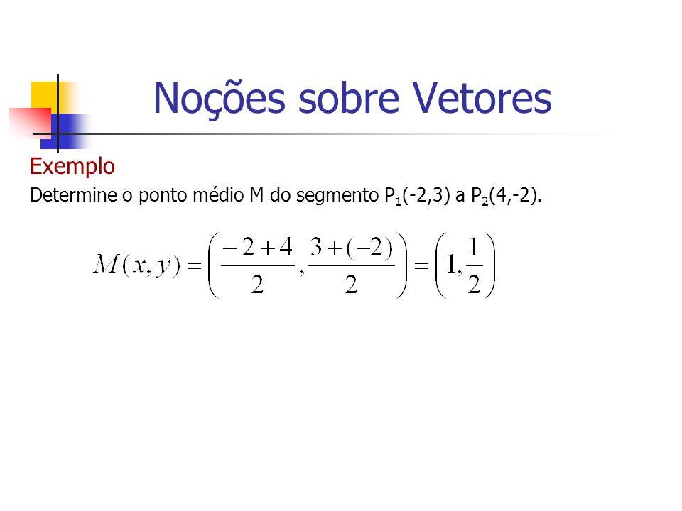 Exemplo Determine o ponto médio M do segmento P 1 (-2,3) a P 2 (4,-2). Noções sobre Vetores