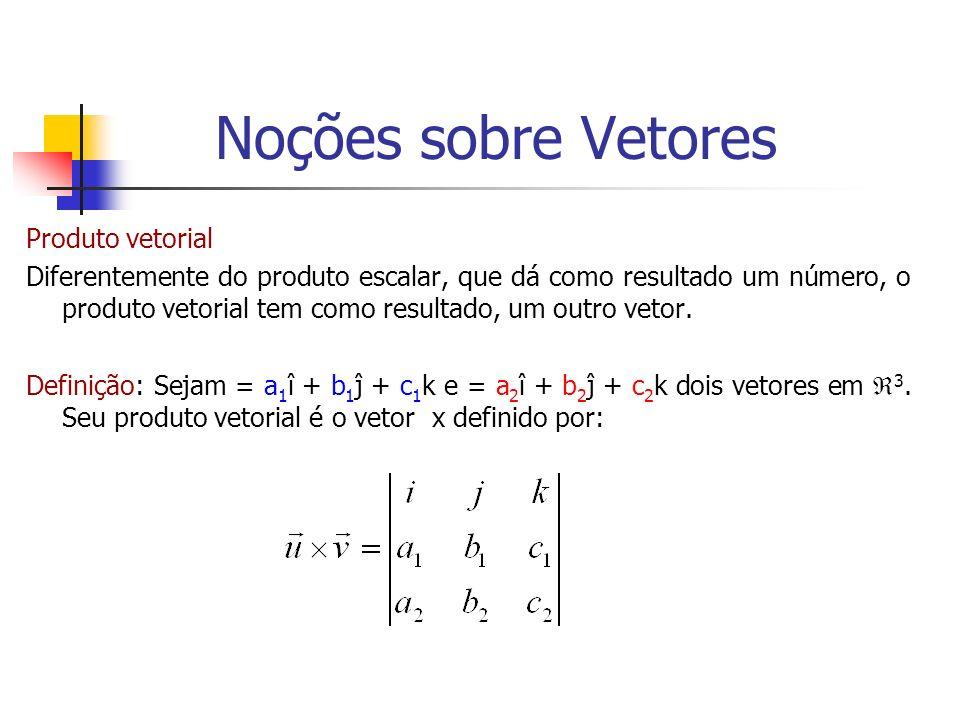 Produto vetorial Diferentemente do produto escalar, que dá como resultado um número, o produto vetorial tem como resultado, um outro vetor. Definição: