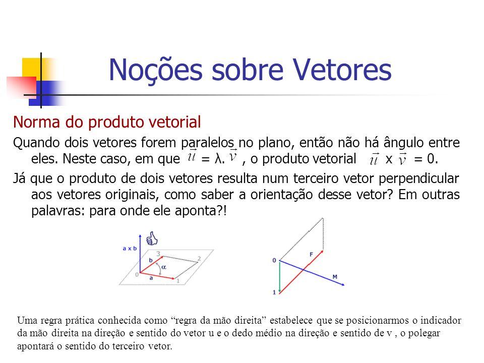Norma do produto vetorial Quando dois vetores forem paralelos no plano, então não há ângulo entre eles. Neste caso, em que = λ., o produto vetorial x