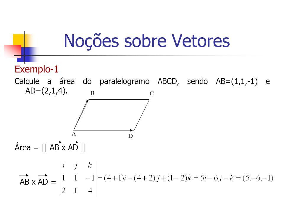 Exemplo-1 Calcule a área do paralelogramo ABCD, sendo AB=(1,1,-1) e AD=(2,1,4). Área = || AB x AD || AB x AD = BC D A Noções sobre Vetores