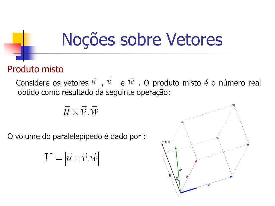 Produto misto Considere os vetores, e. O produto misto é o número real obtido como resultado da seguinte operação: O volume do paralelepípedo é dado p