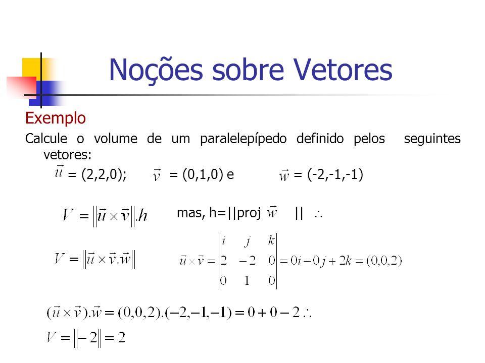 Exemplo Calcule o volume de um paralelepípedo definido pelos seguintes vetores: = (2,2,0); = (0,1,0) e = (-2,-1,-1) mas, h=||proj || Noções sobre Veto