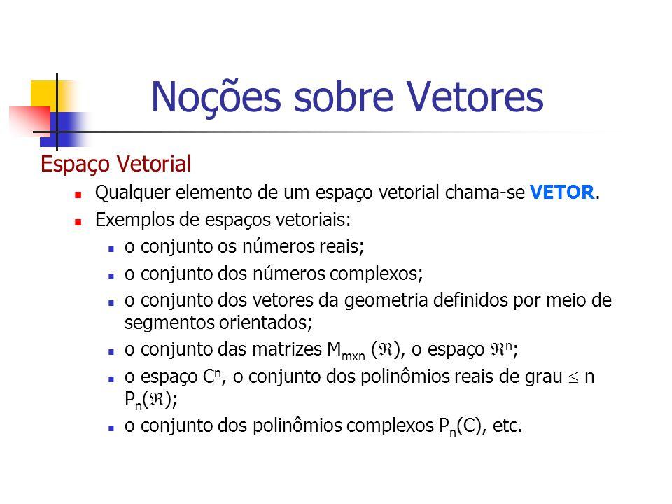 Exemplo Seja x = (-3,4). Então: Logo, o vetor É um vetor unitário, pois: Noções sobre Vetores