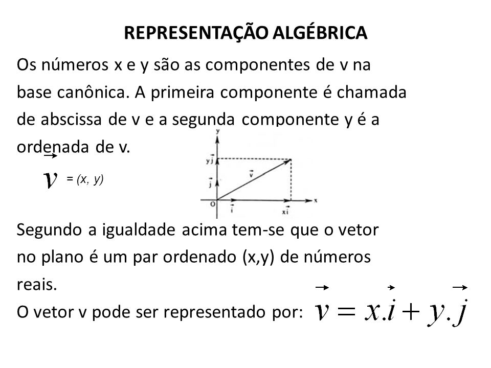 REPRESENTAÇÃO ALGÉBRICA Os números x e y são as componentes de v na base canônica. A primeira componente é chamada de abscissa de v e a segunda compon