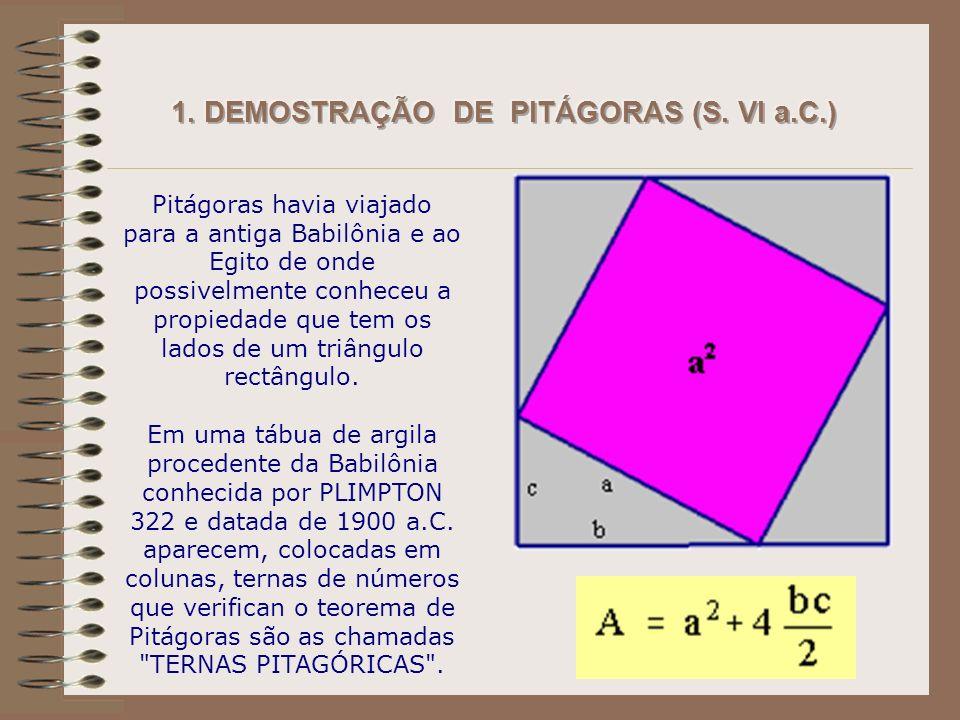 Pitágoras havia viajado para a antiga Babilônia e ao Egito de onde possivelmente conheceu a propiedade que tem os lados de um triângulo rectângulo.
