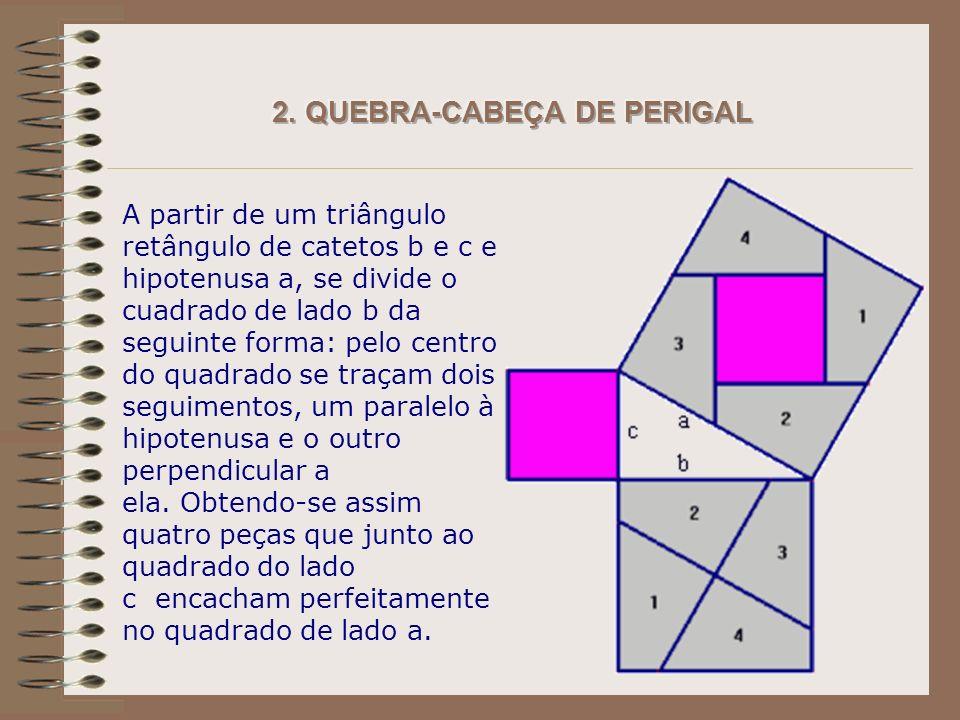 A partir de um triângulo retângulo de catetos b e c e hipotenusa a, se divide o cuadrado de lado b da seguinte forma: pelo centro do quadrado se traçam dois seguimentos, um paralelo à hipotenusa e o outro perpendicular a ela.