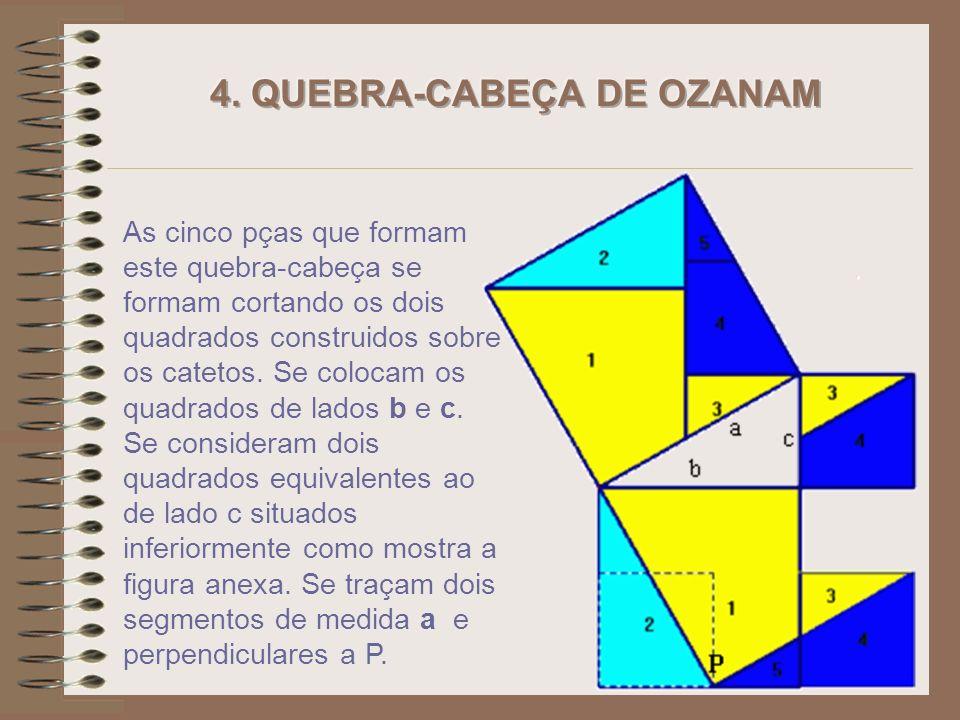As cinco pças que formam este quebra-cabeça se formam cortando os dois quadrados construidos sobre os catetos.