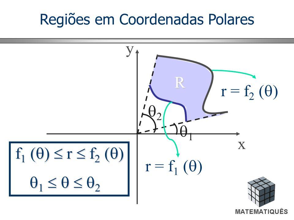 Regiões em Coordenadas Polares y 2 x 1 1 2 1 2 f 1 ( ) r f 2 ( ) r = f 2 ( ) r = f 1 ( ) R